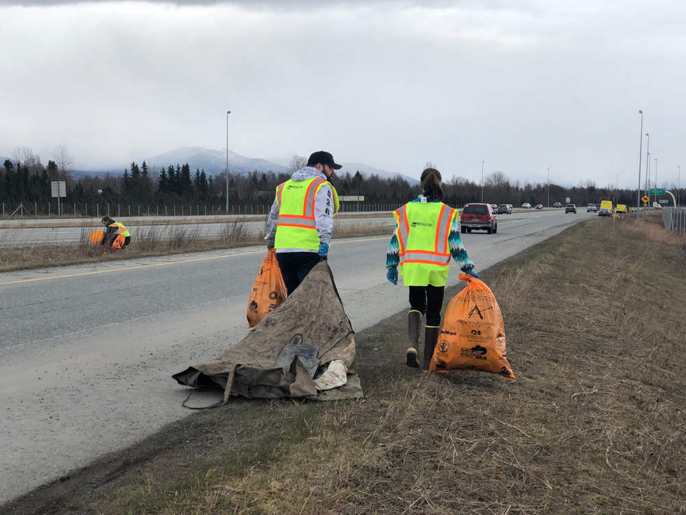 WCP Solutions Volunteers Cleaning up trash in Anchorage, AK