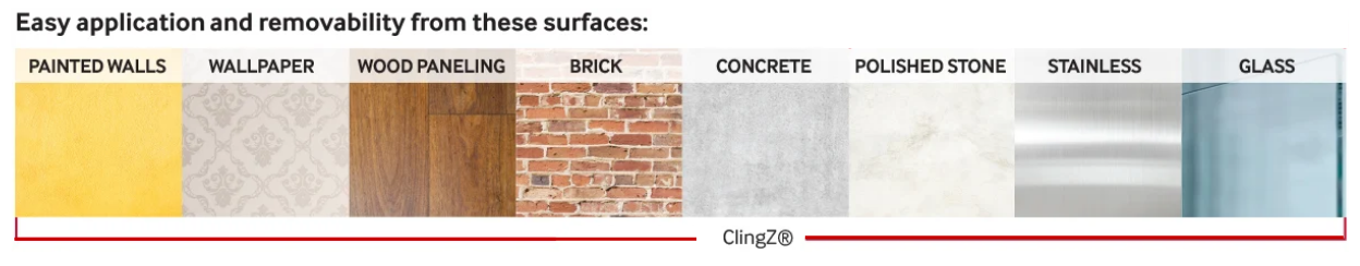 List of compatible surface materials for ClingZ®